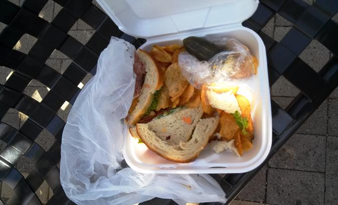 When deputies caught up to Tariq Mohammad on Lancaster Boulevard near Fern Avenue, he was eating this stolen sandwich, Sheriff's officials said. (Photo courtesy LASD)