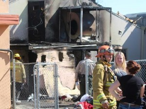 The rear of the structure was hit the hardest and nearly completely engulfed.  (TONY CHEVAL)