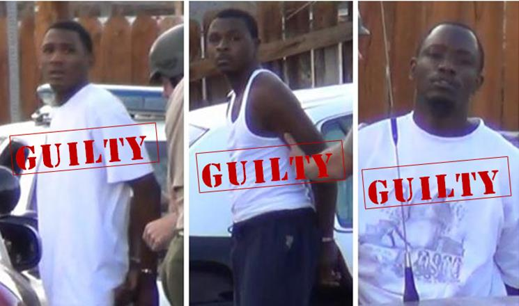 """(L to R) Terrell Henderson, Joshua Lockett and Randy """"Bam"""" Sullivan were found guilty of second-degree murder in connection with the death of 21-year-old Brandy """"Brandon"""" Houston. (LUIS MEZA)"""