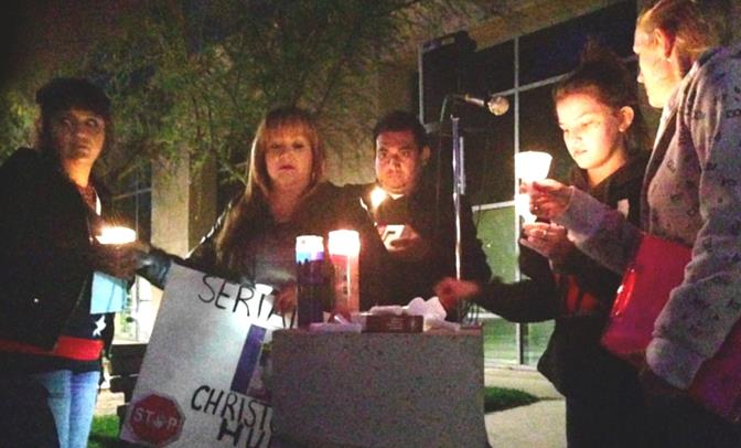 Local residents participate in Wednesday's Prayer & Candlelight Vigil at the Antelope Valley Courthouse. (All photos by JIM WINBURN)