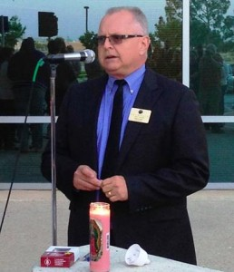 Palmdale Mayor Pro Tem Tom Lackey told participants at Wednesday's Prayer & Candlelight Vigil what local officials were doing about Christopher Hubbart's release into the community.