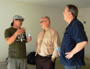 Jimmy Lu (left) with Palmdale Councilman Tom Lackey and Mayor Jim Ledford at a Volunteer Cleanup Day for Gabriel's House in Sept. 2013.