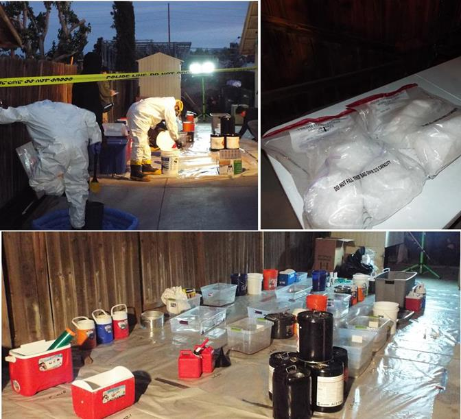 Federal agents, a HAZMAT team, and the Sheriff Department's Narcotics Bureau worked in the backyard to apparently dismantle a meth lab. (Photos by JOHN MEZA)