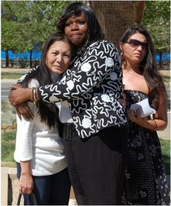 Palmdale resident Cynthia Beverly (center) cried as she recalled being raped at gunpoint. She said she will do whatever it takes to keep Hubbart out of the Antelope Valley.