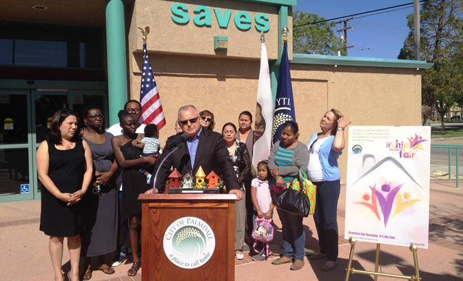 Palmdale City Council Member speaks at a press conference Tuesday to announce that the Housing Rights Center will host its workshops at SAVES. (Photo courtesy city of Palmdale)