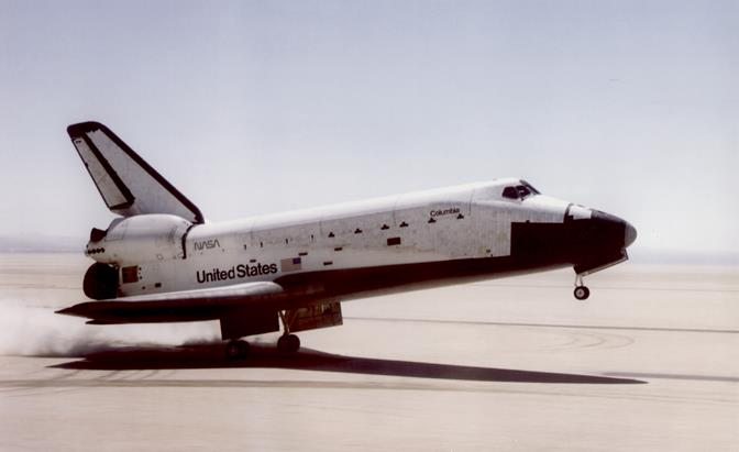 Space Shuttle Columbia lands April 14, 1981 on Rogers Dry Lake Bed at Edwards AFB. (U.S. Air Force photo provided by the Air Force Test Center History Office)