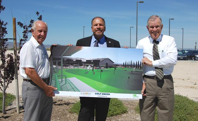 (L to R) Frank Belt, Lou Gonzales, and Norman Andrews hold a rendering for the new putting green while standing in front of its proposed location at the Lancaster Veterans Home.