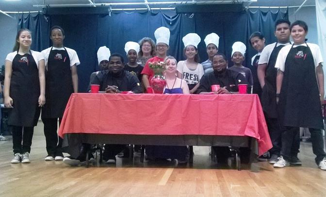 WINNERS, JUDGES & WAITERS: (Front) Chef Derrick Bivens, Miriam Riley, Executive Chef Stephen Grear. (Waiters) Destiny Pantoja, Elijah Tate, Alex Salazar, Eli Fernandez- Leon, Kenny Meacham. (Far Back) Ms. Bolton.