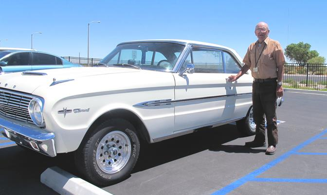 Lancaster Veterans Home resident Joe V. and his vintage 1963 Ford Falcon Sprint.  The car was returned to the Navy veteran in showroom condition, 30 years after it was stolen! (Contributed photo)