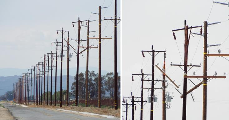 Lightning strikes hit power poles near 40th Street East and Avenue P on Thursday (May 22), as these photos show, taken by John Meza.