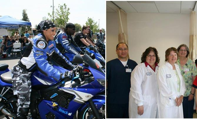 Local bikers will roll up their sleeves and give blood this Saturday. (Contributed photos feature bikers who participated in last year's effort and the AVH Blood Donor Center staff)
