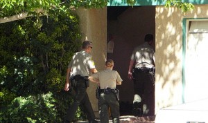 Palmdale Sheriff's deputies responded to the home around 2:49 p.m. after a call came in from the suspect's wife. (LUIS MEZA)