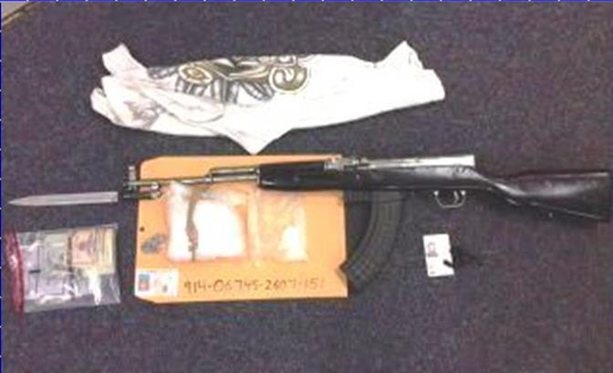 This SKS assault rifle was seized when Lancaster Station Narcotics Detectives served a search warrant at a home in the 36900 Block of Solvay Street, about a quarter of a mile away from Cimarron Elementary School. (Photo courtesy LASD)