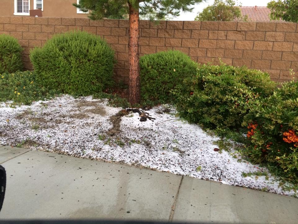 Hailstones fell in Cesar Ponciano's Palmdale neighborhood during the thunderstorm Thursday (May 22). He snapped this photo around 3:30 p.m. near 65th Street East and Avenue S.