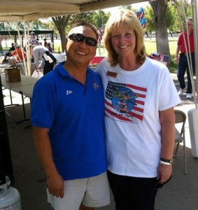 Crazy Otto's owner Jin Hur (shown with Dayle DeBry) will be flipping pancakes after a brief presentation in which the flag will be raised and the Pledge of Allegiance recited. (Contributed)