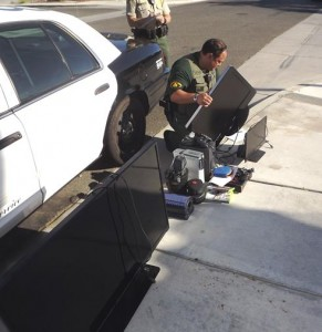 Numerous pieces of suspected stolen property were also recovered, including a gun from one of the warrant locations.  (LASD)