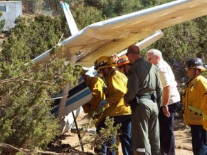 The male and female aboard the plane were treated at the scene by the Los Angeles County Fire Department and then airlifted to a local area hospital. (LUIS MEZA)