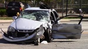 The Honda Civic's driver was treated for minor injuries at the hospital, authorities said. (JOHN MEZA)