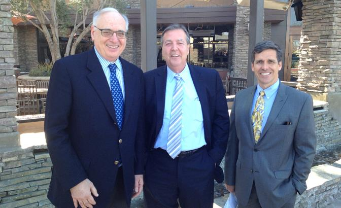 Left to right: CAHSR Board Chair Dan Richard, Palmdale Mayor Jim Ledford and CAHSR CEO Jeff Morales.