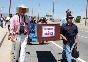 """The coffin was supposed to represent """"buried injustices"""" at the Antelope Valley courthouse."""