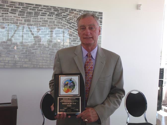 Newton Chelette was honored by city officials at a ceremony Tuesday at  the Lancaster Museum of Art and History. (Photo courtesy of Marauder Sports Information)