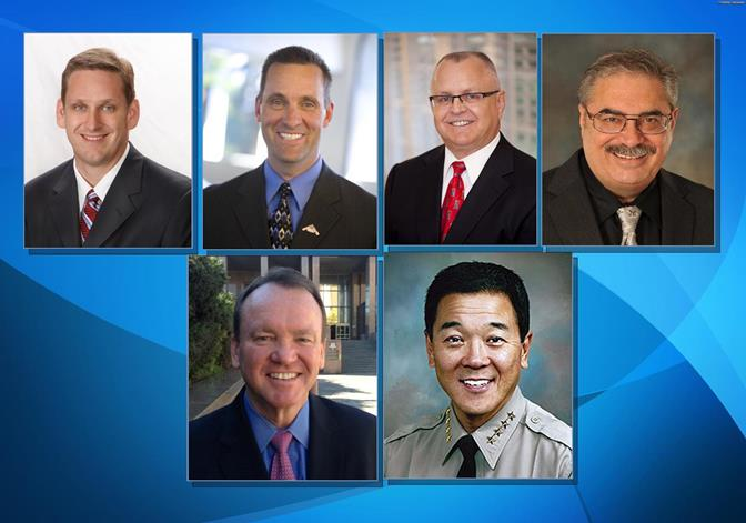 (Top row: L to R) Tony Strickland and Steve Knight will advance to November's general election in the 25th Congressional District race. Tom Lackey and Steve Knight will advance in the 36th Assembly District race. (Bottom row L to R) Jim Mcdonnell will face off against Paul Tanaka for Los Angeles County Sheriff.