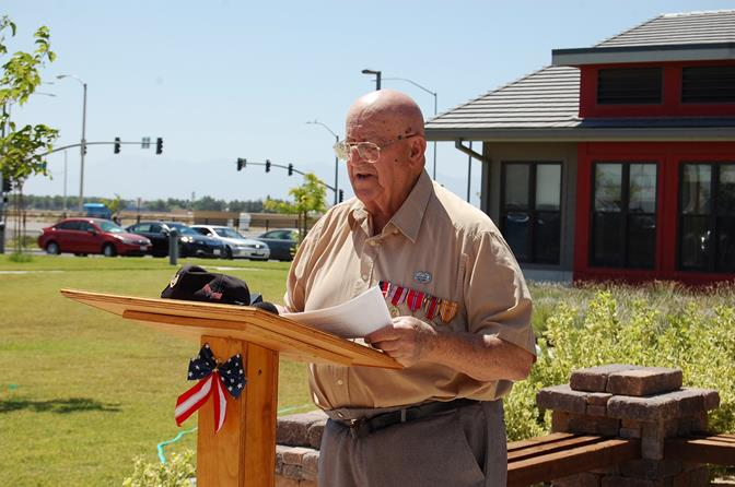"""Sgt. Nap Mushegan, a US Army Medic during WWII, offered a prayer in memory of the men and woman of World War II. """"We are grateful for the sacrifices made by these individuals and their families,"""" Mushegan said. We are honored to know that men and women just like them are still serving our nation."""""""