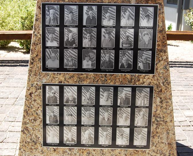 There are 36 pictures on the monument so far, which represent every World War II veteran who has lived in the Lancaster Veterans Home.
