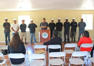 Palmdale's Neighborhood Services Director Mike Miller spoke of the importance of AV YouthBuild at the check presentation ceremony Thursday. (JAMAAL BROWN)