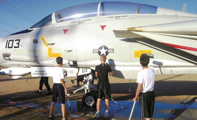 """Among the """"adoption"""" duties are picking up trash and debris, pulling weeds and keeping dirt and dust off the planes by pressure washing them.  Planes that are available for adoption include: B-52 Stratofortress (for a large group), Triumph 143, F-86 Sabre, X55A ACCA, and Boeing 747 – Shuttle Vehicle Transport (for large group)."""