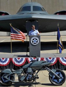 U.S. Air Force Brig. Gen. Steven L. Basham regaled the audience with his memory of flying as co-pilot on the first B-2 combat mission, which occurred in the Kosovo War in March 1999.