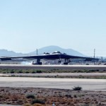 The B-2 Spirit of Arizona made a dramatic landing Thursday, July 17, at U.S. Air Force Plant 42 prior to Northrop Grumman's B-2 25th anniversary ceremony.