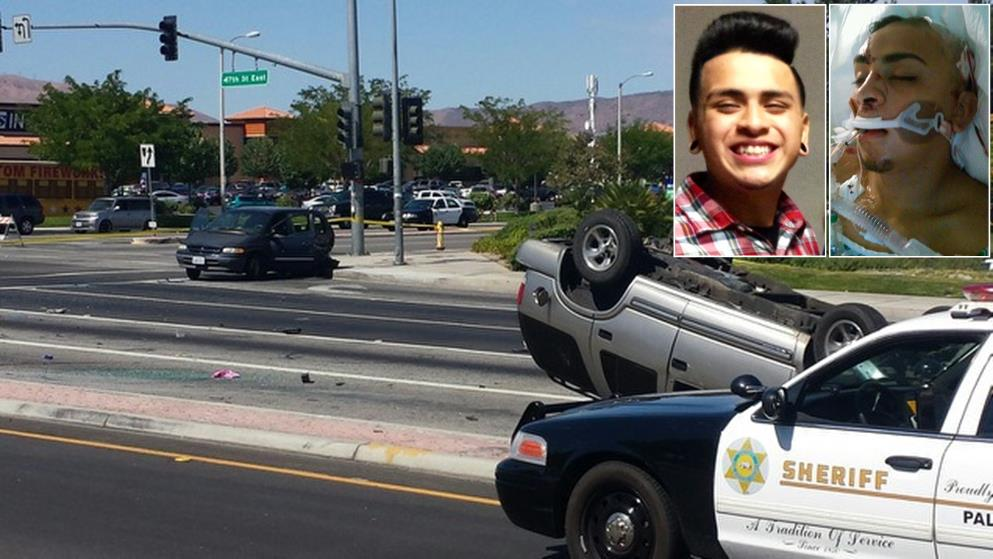 """17-year-old Brandonly """"Cano"""" Estrada (inset) suffered permanent injuries from an alleged DUI crash in Palmdale July 6. To donate to his family to cover medical expenses and long-term therapy, visit http://www.gofundme.com/bh0fj0."""