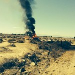 Efrain Anaya's 2000 Chevrolet S-10 flipped over and caught fire in an empty field around 9:35 a.m. Sunday, July 20, near 20th Street West, south of Marie Avenue in the Rosamond area. (Photo courtesy California Highway Patrol)