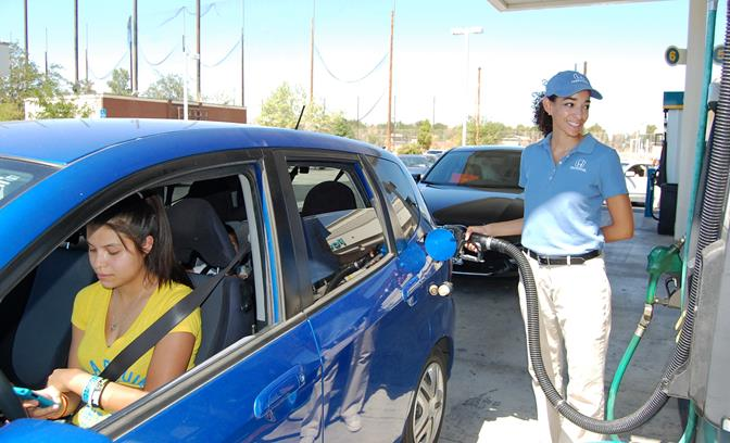 Lancaster resident Samanta Braun was one of several residents who got a free tank of gas Tuesday, compliments of the SoCal Honda Dealers and their TankerTuesdays promotion.