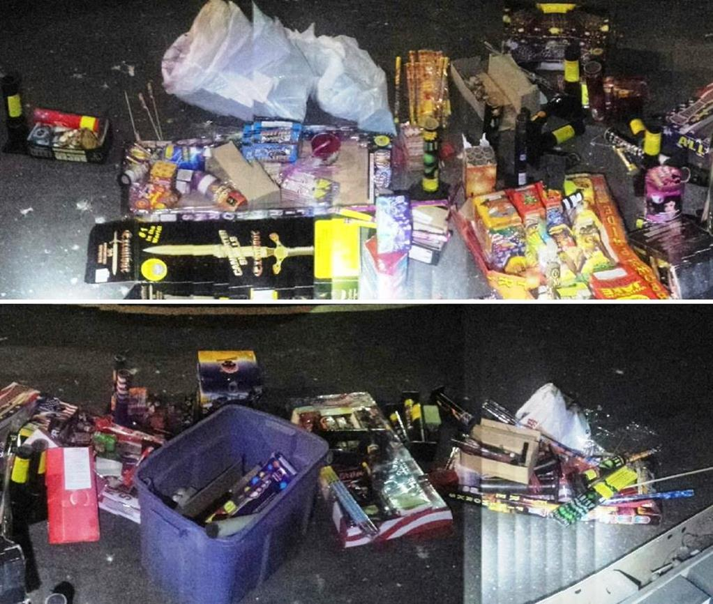 The confiscated fireworks were taken to Fire Station 129 for disposal. (Photo courtesy LASD)