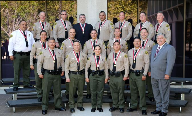 On July 24, 2014, the Los Angeles County Sheriff's Department formally recognized nearly two dozen personnel for heroic actions. Among them were Lancaster deputies Jared Fletcher, Michael A. Gelardo and Estevan Perez. (Photo courtesy LASD)
