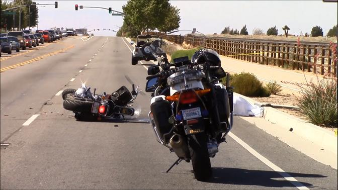 The motorcyclist, whose name has not yet been released, was pronounced dead at the scene by Los Angeles County Fire Department Paramedics.   (Photo by LUIS MEZA)