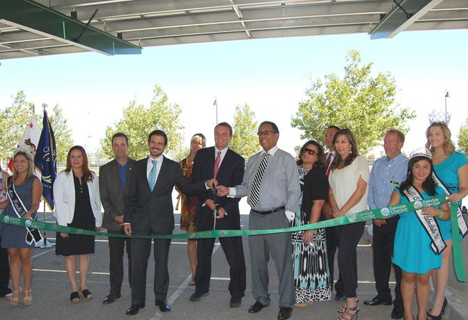 Representatives from the City of Palmdale, Constellation and PsomasFMG cut the ribbon Wednesday, July 9, to celebrate the completion of an aggregate 976-kilowatt DC solar generation project.