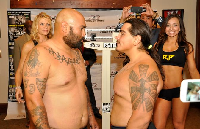 Local fan favorite Giovanni Sarran of Palmdale (right) faces his opponent Makanni Sarellano  of Santa Maria at the weigh in Friday, July 18.