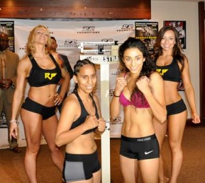 Palmdale resident Poula Estrada (right) makes her professional debut against seasoned professional Blanca Raymundo.