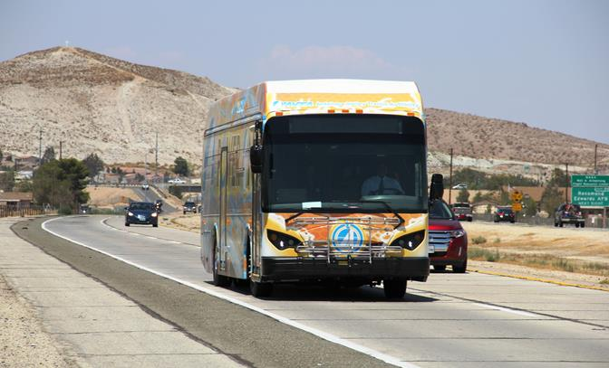 A 24-hour marathon bus ride ended Sunday afternoon with thumbs up after the BYD electric bus traveled an average of 250 miles between battery charges.  (Photo courtesy AVTA)