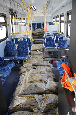 The electric bus was loaded with 5,250 lbs. of sand bags to simulate the weight of 35 passengers. (AVTA)