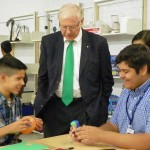 Los Angeles County Supervisor Michael Antonovich interacts with students Aug. 20 at The Palmdale Aerospace Academy. (Contributed)