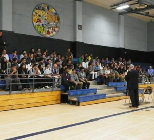 Antonovich spoke to 11th grade students in the gymnasium about his history in politics and the importance of receiving a high quality education.
