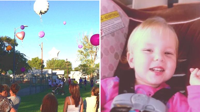 Family and friends release memorial balloons at Jane Reynolds Park Tuesday to celebrate what would have been Aurora-Aryana Madonna Hollingsworth's 2nd birthday. Twenty-month-old Baby Aurora-Aryana (right) died of heatstroke on April 22 after being left in a vehicle for eight hours on an 83-degree day.