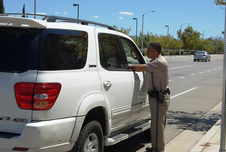 Around 1:50 p.m., Wednesday, Aug. 27, a driver was stopped for making an illegal left turn from westbound Avenue I onto Sierra Highway. The traffic stop was part of a local CHP enforcement effort focusing on distracted driving and other traffic violations.
