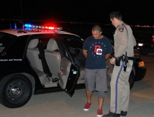 CHP Officer Crow places Paul Rivas under arrest on suspicion of driving under the influence.