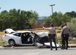 The driver and his female passenger were transported to a local area hospital, where the driver was pronounced dead. (LUIS MEZA)