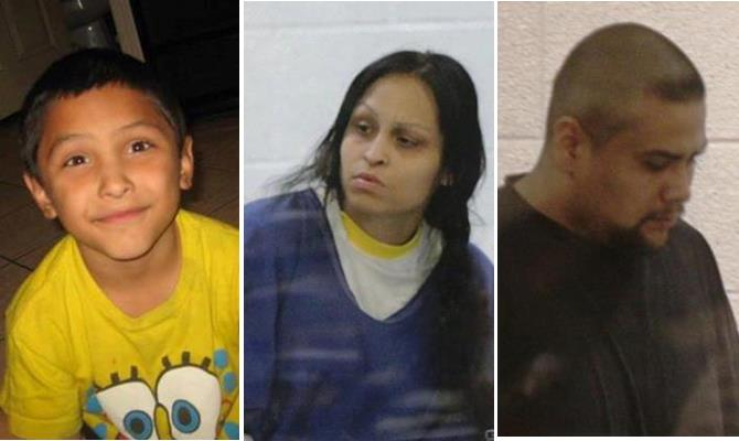 Pearl Fernandez (center) and her boyfriend Isauro Aguirre (right) are accused of inflicting multiple injuries upon 8-year-old Gabriel (left), including fracturing his skull, breaking several ribs and burning him all over his body. Gabriel was pronounced dead on May 24, 2013.